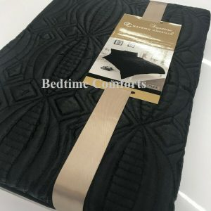 Black Embroidered Panel Duvet Cover + 2 Pillow Cases PEARL