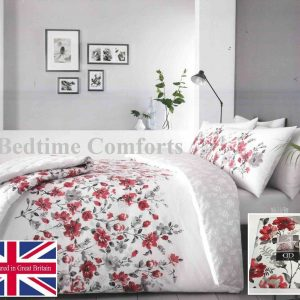 White, Grey, Red Floral Duvet Cover + 2 Pillow Cases GABBY