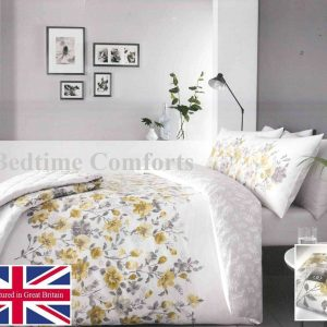 White, Grey, Yellow Floral Duvet Cover + 2 Pillow Cases GABBY