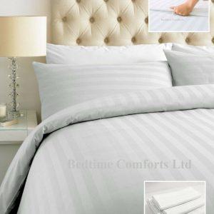 White Satin Stripe 300TC Duvet Cover + Pillow Cases