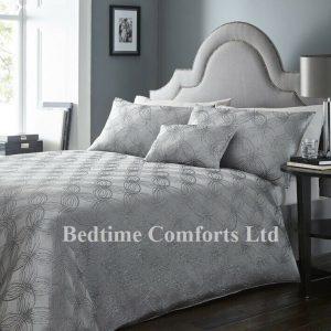 Silver, Grey Jacquard Duvet Cover + Pillow Cases LONDON