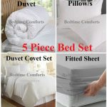 5 Pce Plain Bed In A Bag (Various Sizes & Colours)
