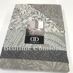 Cream, Grey, Charcoal Floral Duvet Cover + 2 Pillow Cases HANNY
