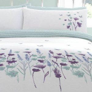 White, Green, Purple Floral Duvet Cover + Pillow Case AMARI