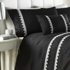 Black & Silver Duvet Cover + 2 Pillow Cases ZINA