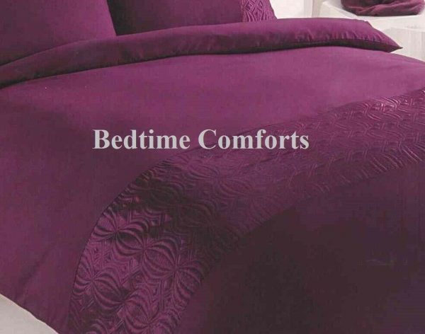 Burgundy Red Embroidered Panel Duvet Cover + 2 Pillow Cases PEARL