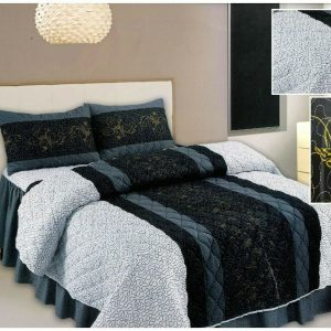 """Black, Grey, Gold Butterfly Design """"QUILTED"""" Bedspread Comforter & Pillowcase/s"""