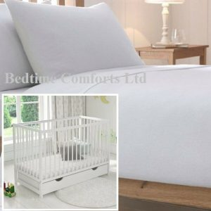 """Cot Bed / Travel Cot Luxury Soft Flannelette Flat Sheet 55"""" X 71"""" WHITE"""