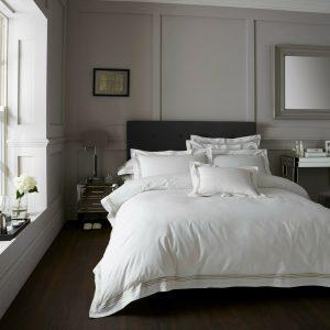 White / Latte Brown Hotel Duvet Cover + Pillowcases DORIA