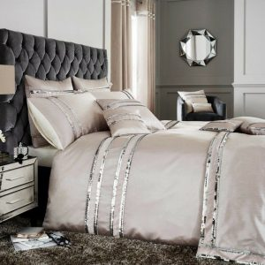 Beige Brown Modern Duvet Cover + Pillowcases ALINA