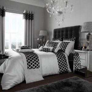 Black Silver Modern Duvet Cover + Pillowcases SHIMMER
