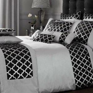 Black Silver Grey Modern Duvet Cover + Pillowcases SHIMMER