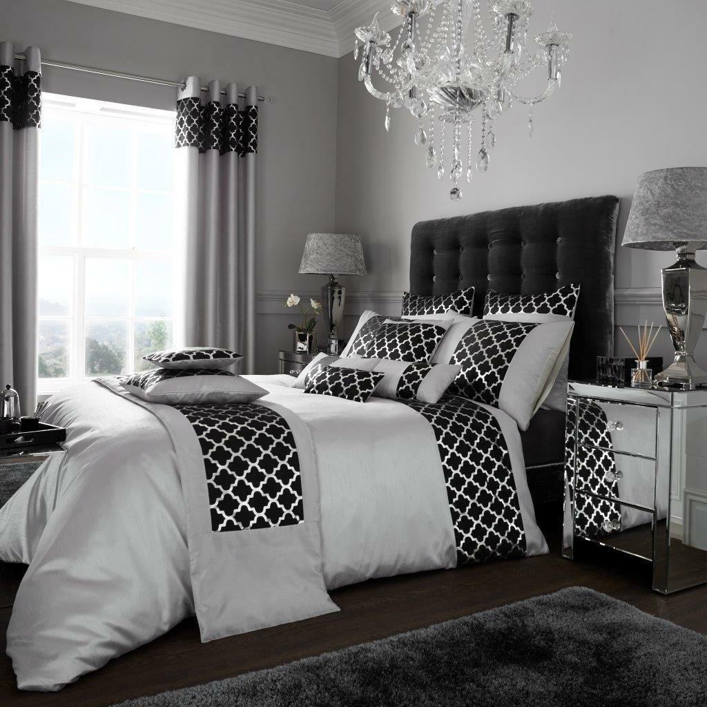 Black Silver Modern Duvet Cover Pillowcases Shimmer