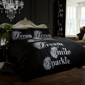 Black Modern Duvet Cover + Pillowcases DREAMS