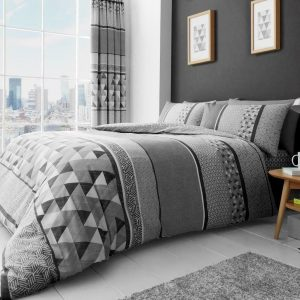 Grey Modern Geometric Duvet Cover + Pillowcases MADDY