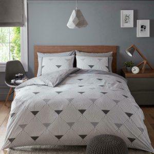 Grey Modern Geometric Duvet Cover + Pillowcases MONROE