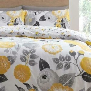 Yellow Floral Duvet Cover + Pillowcases NELLY