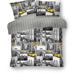 Grey / Yellow Iconic Reversible Duvet Cover + Pillowcases YELLOW CAB