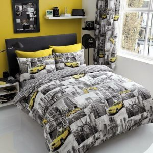 Grey / Yellow Iconic Duvet Cover + Pillowcases YELLOW CAB